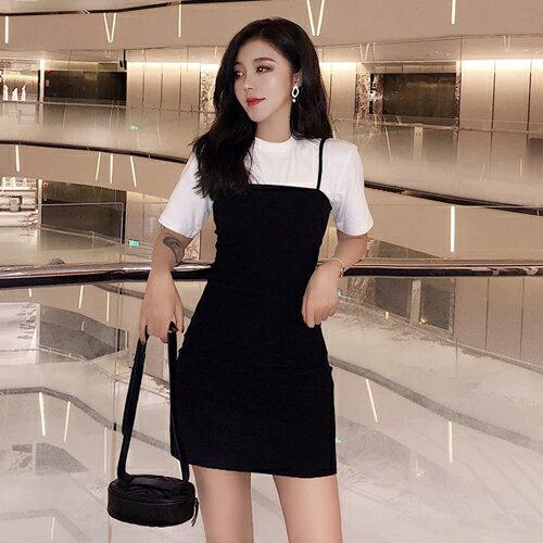 PS Mall 純色基本款圓領上衣+細肩帶平口連身裙二件式套裝【T658】 - 限時優惠好康折扣