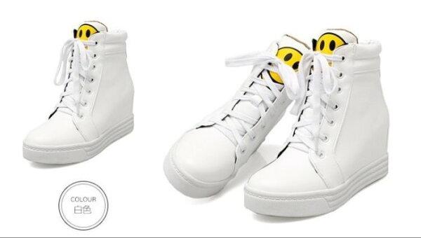 Pyf♥經典黃色微笑臉內增高筒球鞋厚底休閒靴4243大尺碼女鞋