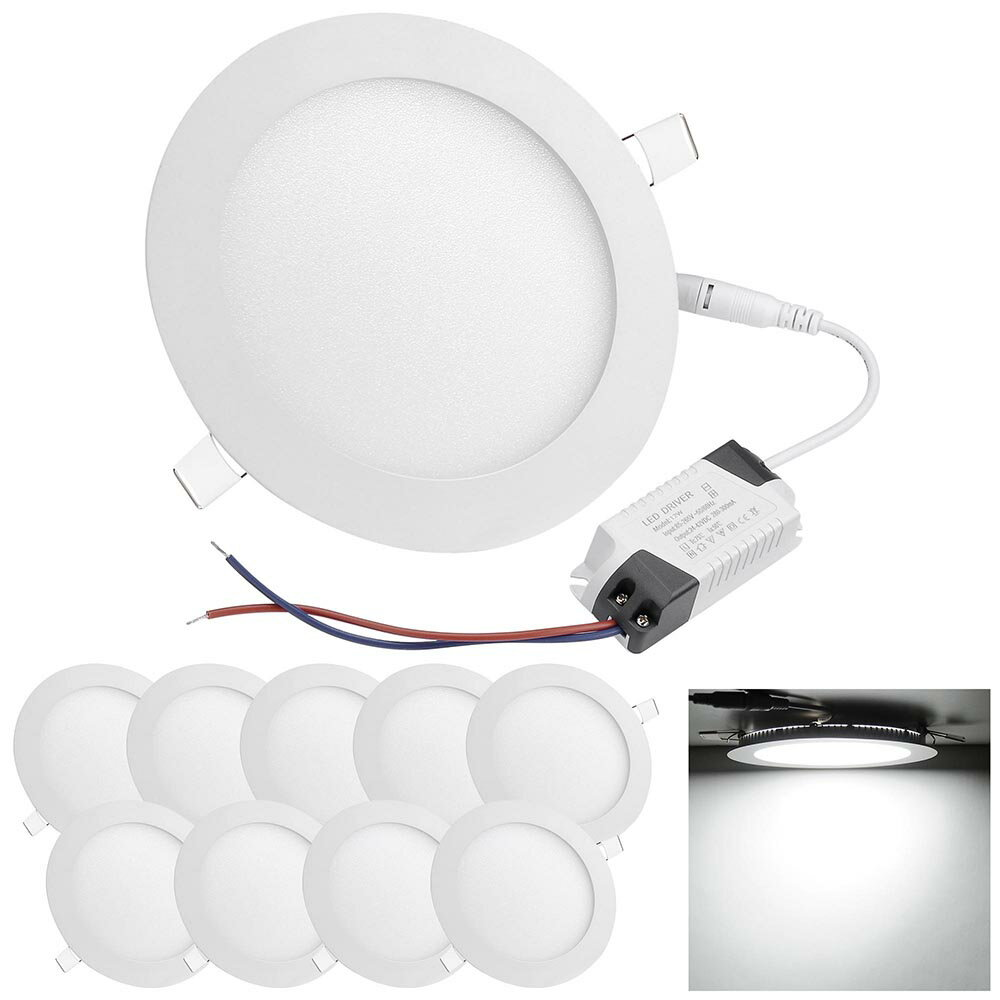 DELight Set of 10pcs 12W Round LED Ceiling Flat Panel Light Recessed Downlight 6000-6500K 960LM 0
