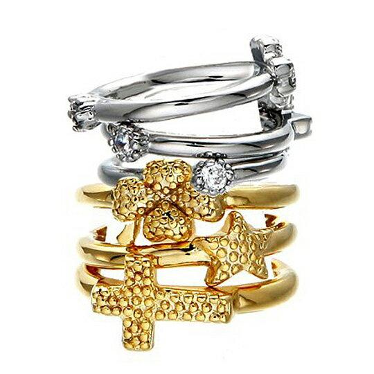 太妃糖 星星十字幸運草組合戒指(3個1組)金