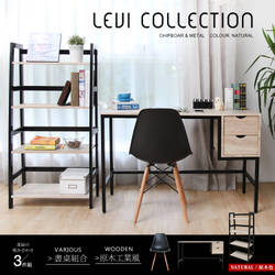 LEVI李維工業風個性鐵架雙抽書桌椅組/書房組-3件式 / H&D / 日本MODERM DECO