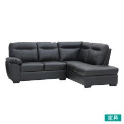 ◎半皮左躺椅L型沙發 STONE BK NITORI宜得利家居