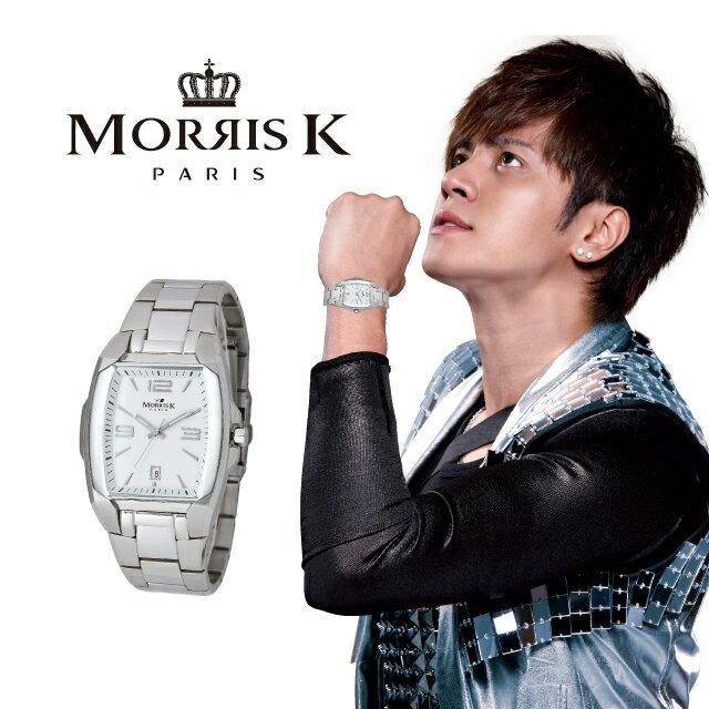 【Morris K】羅志祥代言 魅力無限不鏽鋼流行腕錶-白/42mm MK10095-DA20