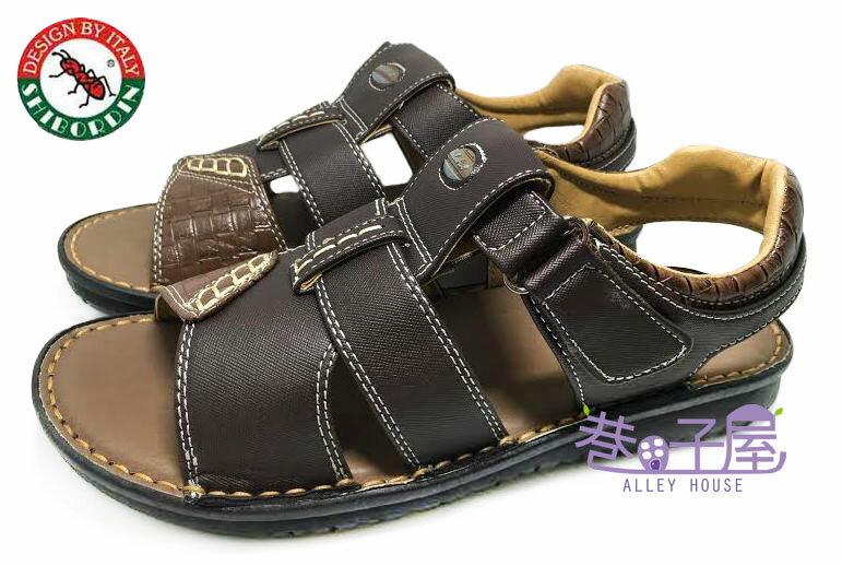 【巷子屋】SHIBORDIN喜伯登 紅螞蟻 男款手工縫製休閒皮質涼鞋 [1300596] 咖啡 台灣製造 超值價$298