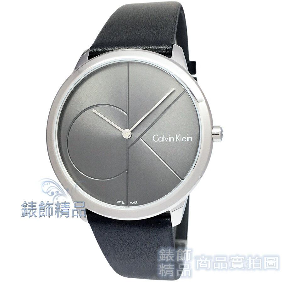 【錶飾精品】CK Calvin Klein K3M211C3 凱文克萊 薄型簡約 都會時尚 LOGO鐵灰錶面 黑皮帶男錶