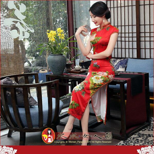 【水水女人國】~優雅浪漫旗袍風~紅璽。復古仿真絲印花側腰一字扣改良式時尚修身長旗袍
