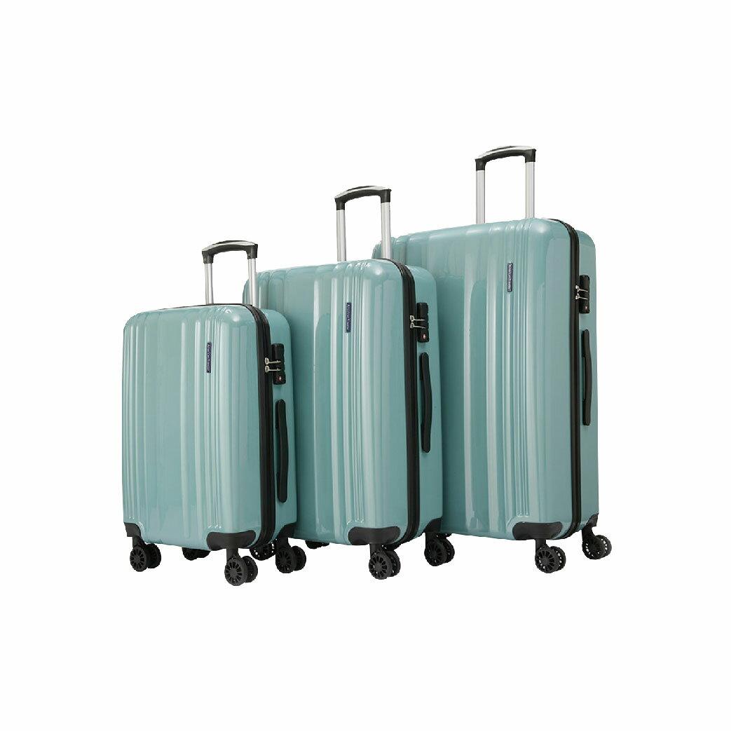 【哇哇蛙】LON英倫系列-PC亮面耐衝擊輕量行李箱 超值三件組(湖水綠)旅行箱 多色可選