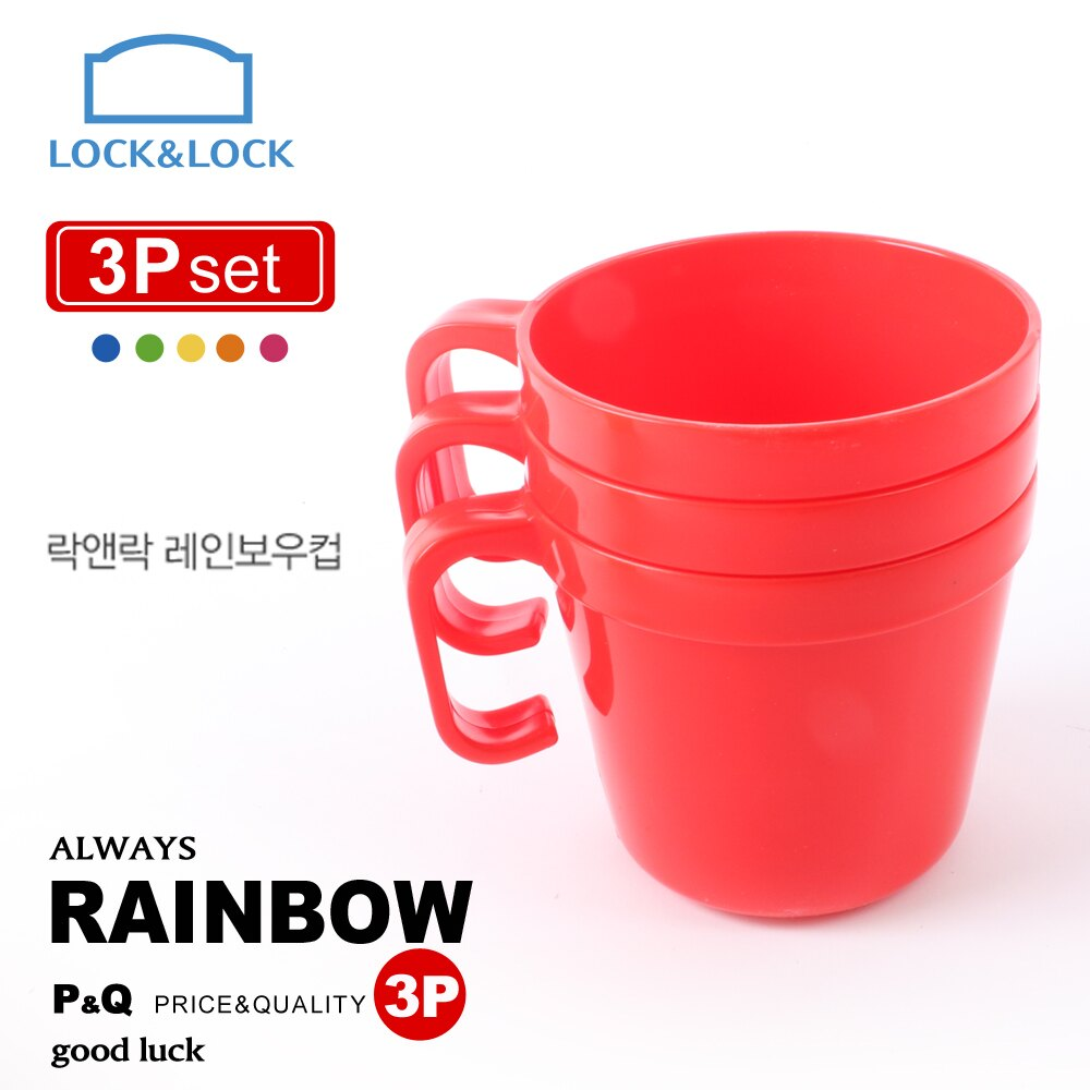 【樂扣樂扣】P&Q PP彩虹疊疊樂咖啡杯3入組(紅) C24