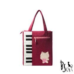 【ABS貝斯貓】可愛貓咪拼布 A4可入肩背包 提袋(紅色88-200)【威奇包仔通】