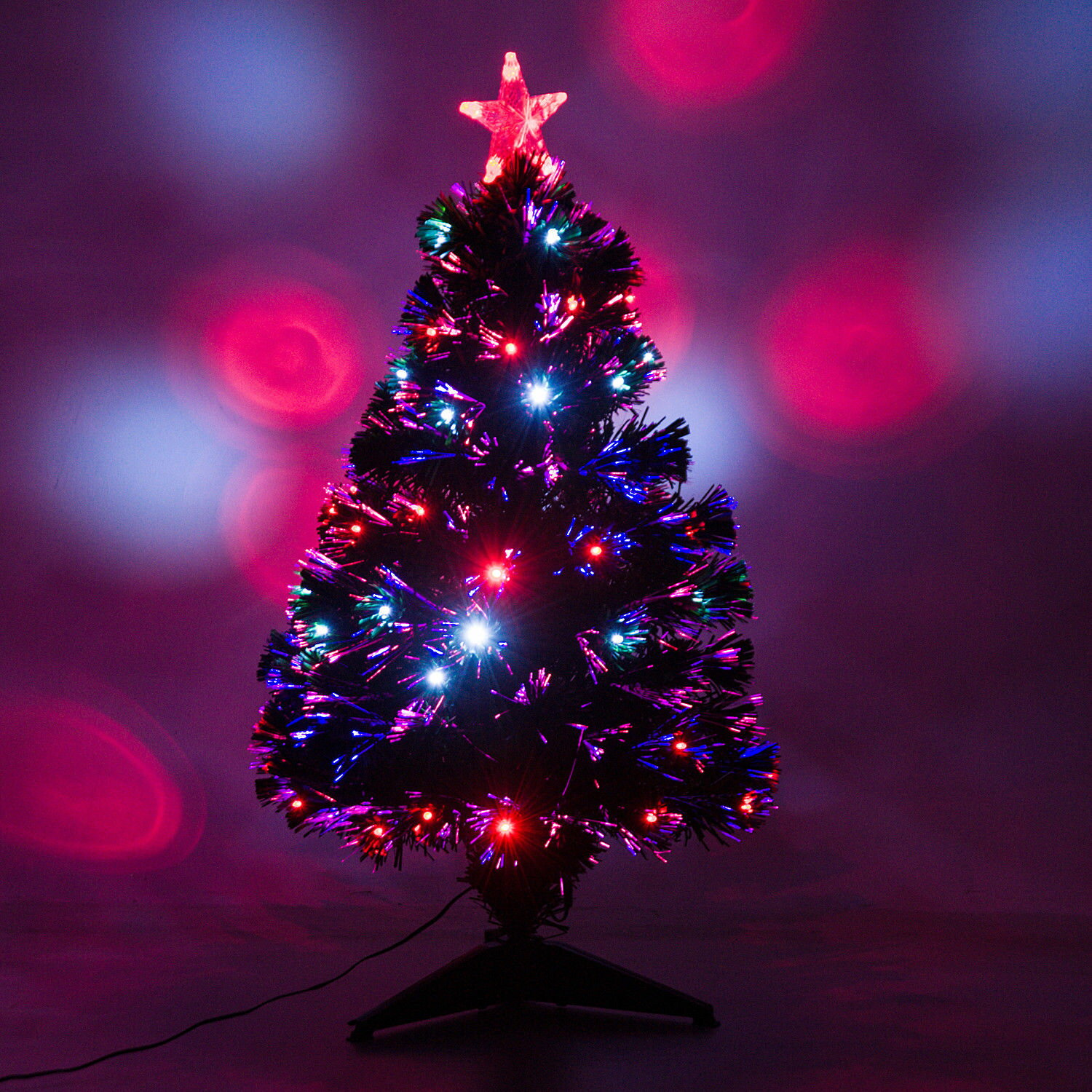 3' Artificial Fiber Optic / LED Light Up Christmas Tree w/ 8 Light Settings and Stand 0
