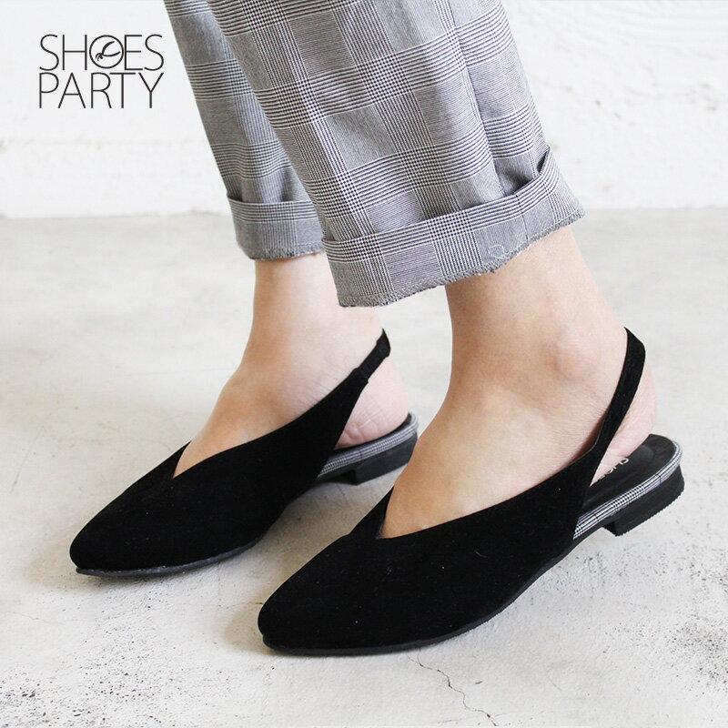 【P2-18102F】小腳效果深V平底便鞋_Shoes Party 2