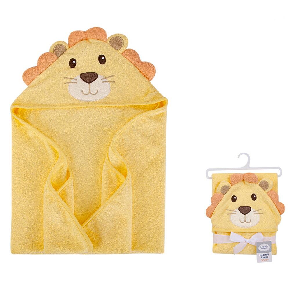 美國  luvable friends  100% 純棉嬰幼兒動物造型連帽浴巾/包巾_小獅子 (LF00342)