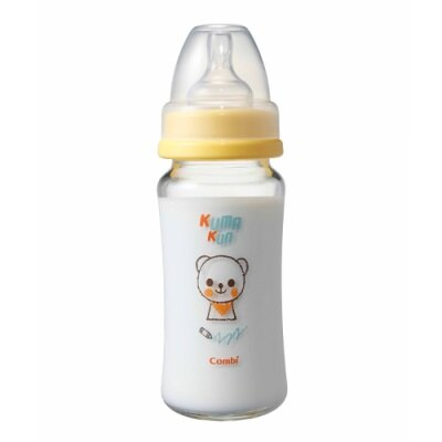 【麗嬰房】Combi Kuma Kun 小熊寬口玻璃奶瓶 (黃-240ml-圓孔M)