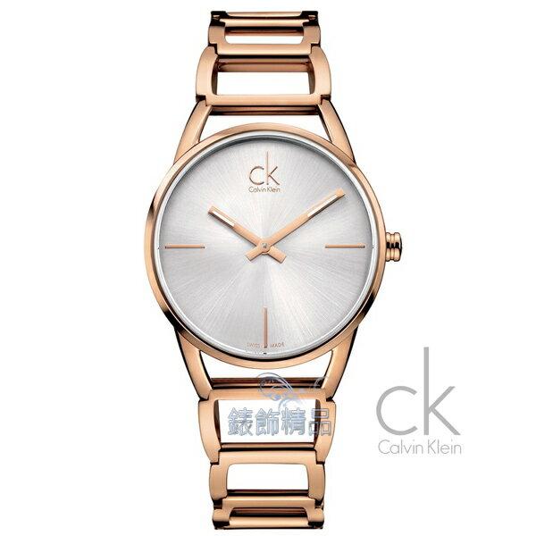 【錶飾精品】CK WATCH/CK錶/CK手錶/Calvin Klein 優雅仕女白面 鏤空 玫瑰金色鋼帶女表K3G23626全新正品