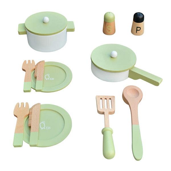 Teamson 小廚師法蘭克福木製玩具廚房餐具組-綠色(家家酒14件組)