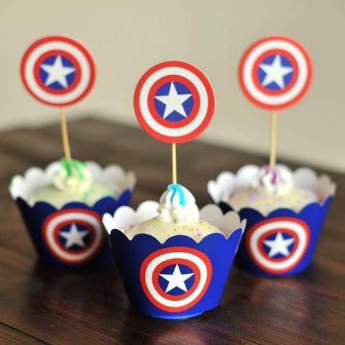 =優生活=烘焙包裝紙杯蛋糕 蛋糕裝飾 插牌圍邊+插牌裝飾 派對用品 兒童生日 彌月蛋糕 收綖蛋糕【美國隊長盾牌】