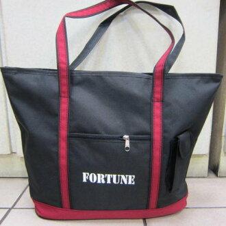 ~雪黛屋~FORTUNE托特包購物袋簡單提袋才藝袋手提袋 防水尼龍布材質台可放A4資料夾 萬用簡單手提袋 黑-紅