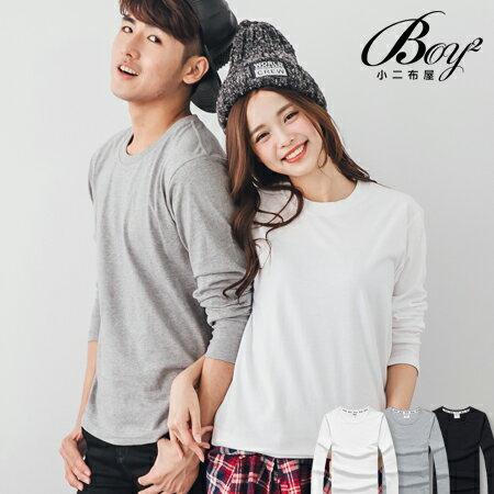 ☆BOY-2☆ 【XX88017-1】情侶潮流質感素面圓領長T恤 1