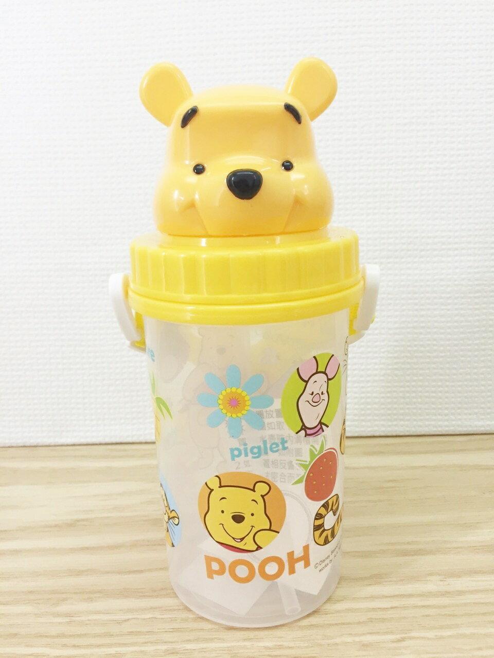 【真愛日本】15110600018頭型吸管水壺-維尼500CC  迪士尼 小熊維尼 POOH 維尼熊  水壺 維尼
