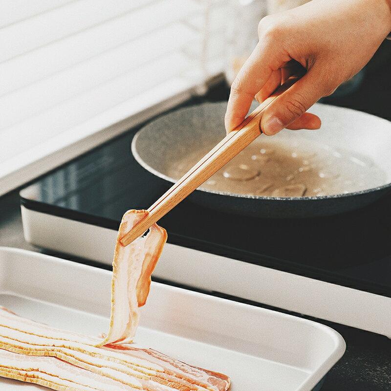日式榉木食品夹防烫菜夹子捞面火锅夹可悬挂厨房面包料理夹子