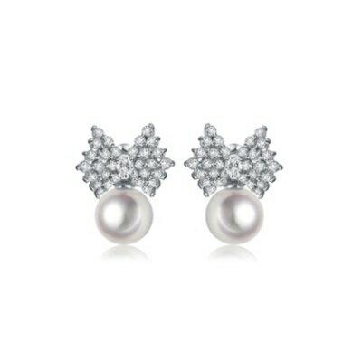 純銀耳環鍍白金鑲鑽耳飾~ 精緻簡約蝴蝶結生日情人節 女飾品73cr395~ ~~米蘭 ~
