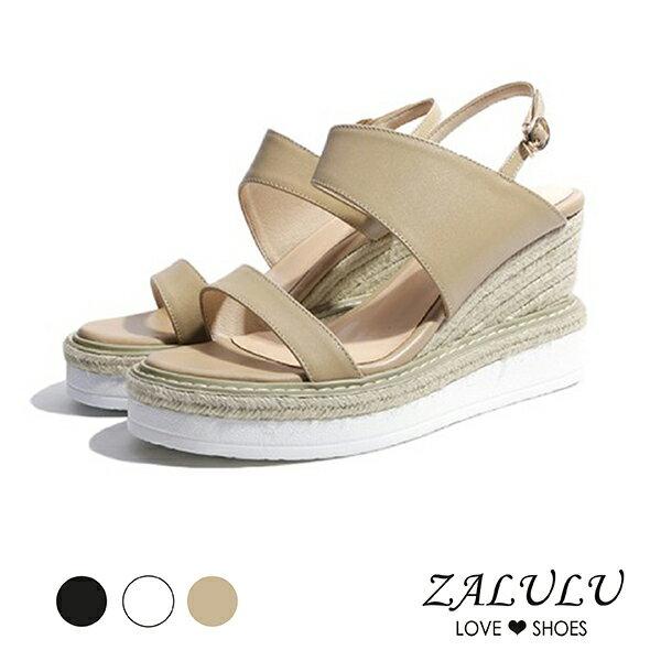 ZALULU愛鞋館7CB116清涼夏季平行帶編織楔形鞋-黑白淺棕-35-39