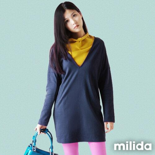 【Milida,全店七折免運】-全館免運-深V款-上寬下緊洋裝