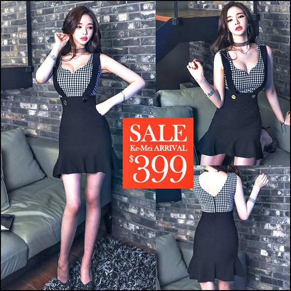 ☆克妹☆現貨+預購【ZT45621】韓國東大門時尚格紋吊帶荷葉裙連身洋裝
