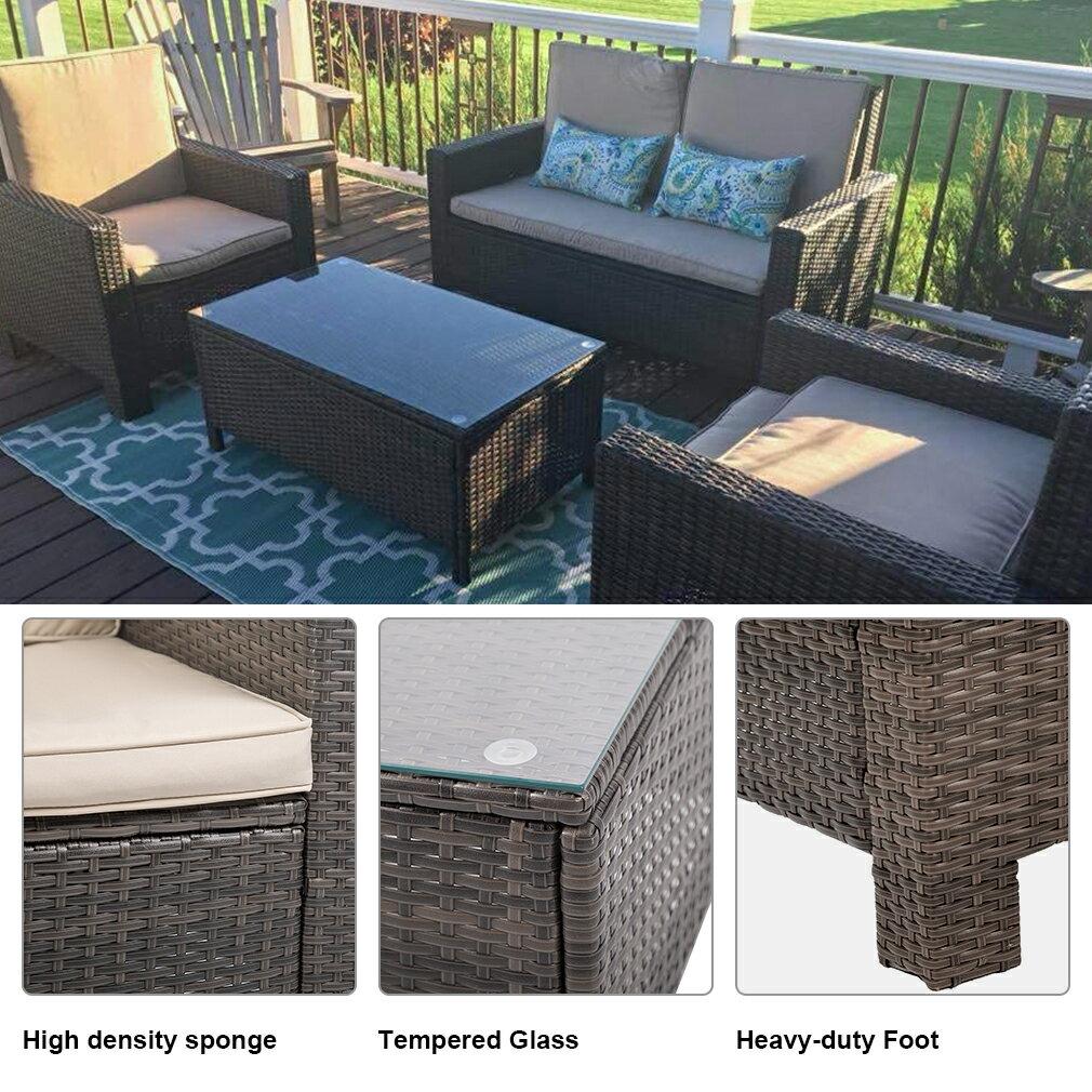 4pc PE Rattan Wicker Sofa Set Cushion Outdoor Patio Sofa Couch Furniture 2