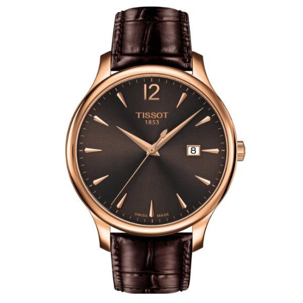 TISSOT天梭T0636103629700Tradition系列經典懷舊時尚腕錶咖啡42mm