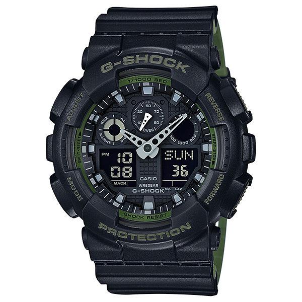 CASIO G-SHOCK GA-100L-1A 黑綠雙色錶帶雙顯腕錶/黑面51mm