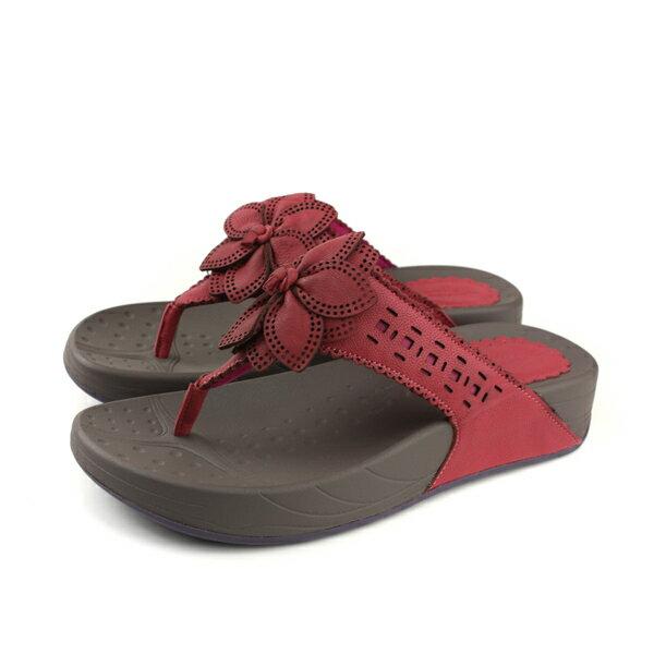 HUMANPEACE夾腳拖鞋深紅色女鞋3836-16-G109no140