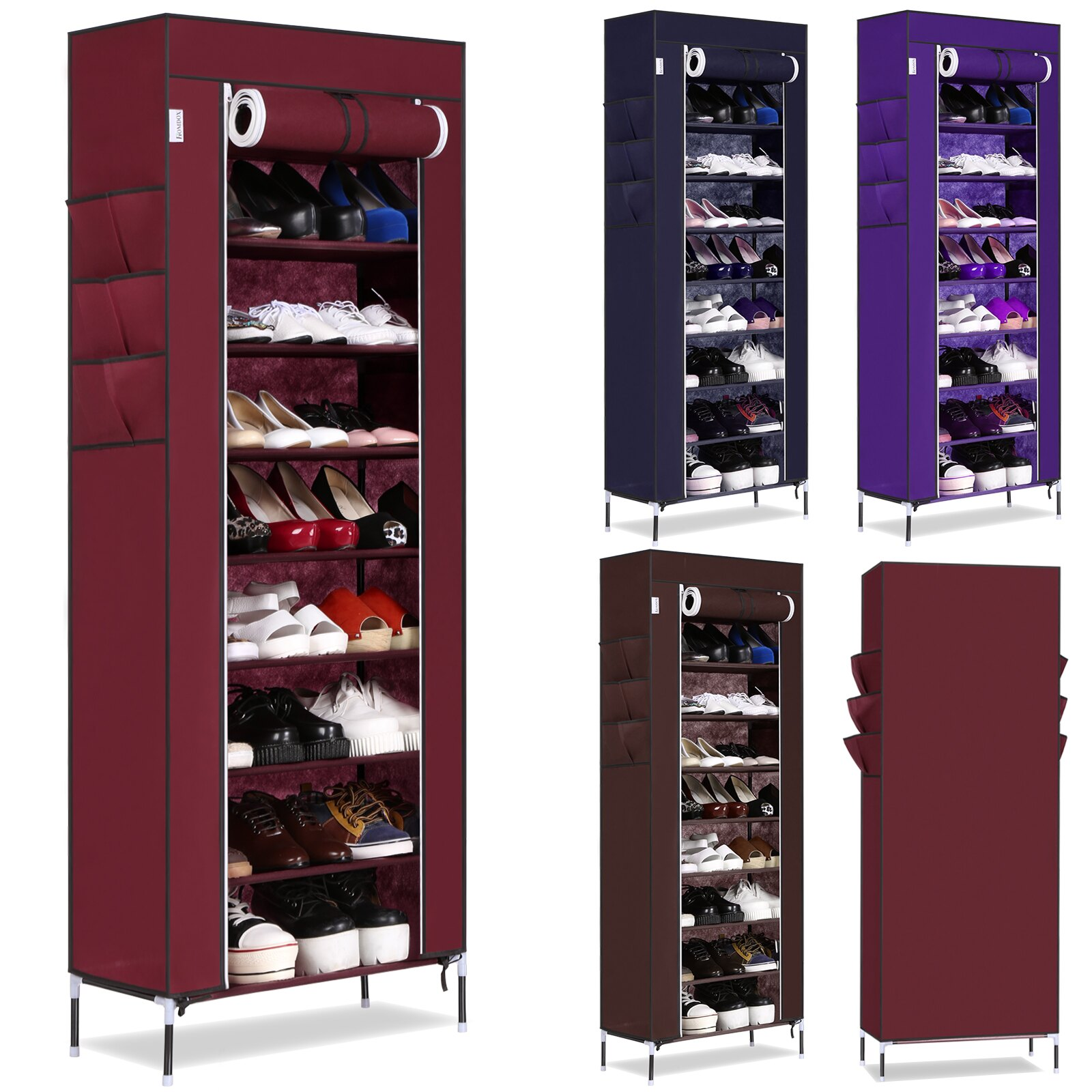 4 Colors 10 Layer 9 Grid Large Capacity Shoes Storage Organizer Portable Shoe Rack 1