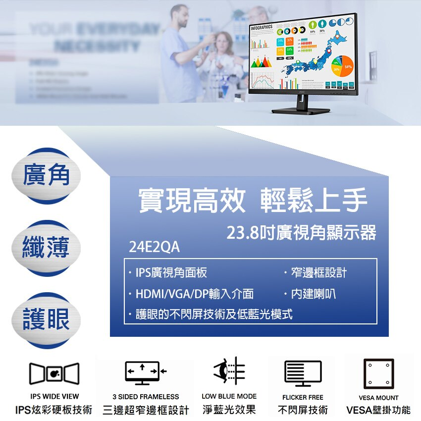 【艾德蒙AOC】24B1XH5/24E2QA(全面升級內附內建喇叭規格) IPS面板無閃爍 24吋液晶螢幕(現領現金折價券)
