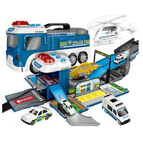 【孩子國】聲光場景賽道變形警察消防車(送4台造型迴力小車)