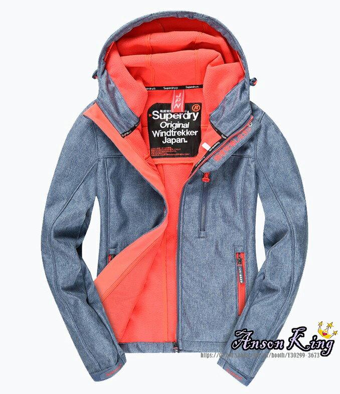 [女款] Outlet英國 極度乾燥 Superdry Windtrekker 女款 風衣 連帽 防風 防水 外套 牛仔藍 0
