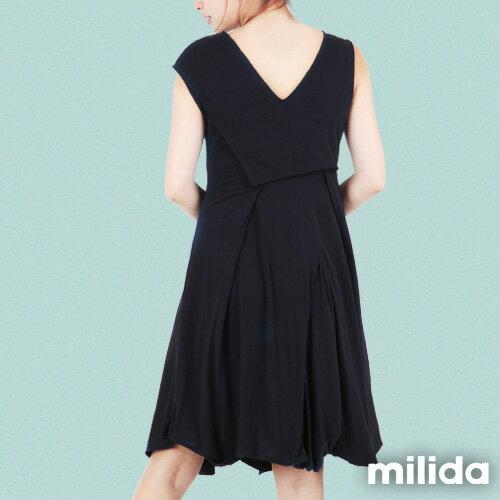 【Milida,全店七折免運】-夏季洋裝-無袖款-百搭V領百摺款 3