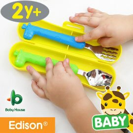 『121婦嬰用品館』baby house 愛迪生長頸鹿湯叉盒裝組湯匙+叉子 - 粉 0