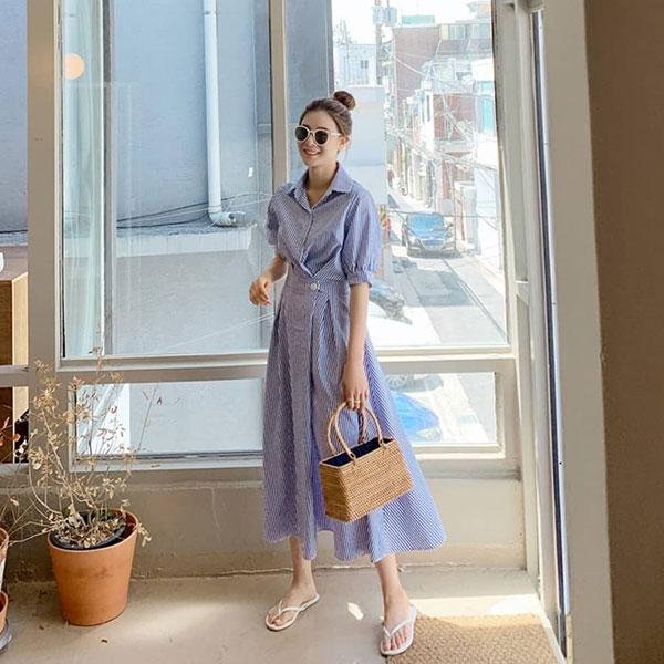 ANNAS 正韓條紋襯衫洋裝短袖連身裙長洋長裙長洋裝 縮腰腰身顯瘦上班族氣質韓國