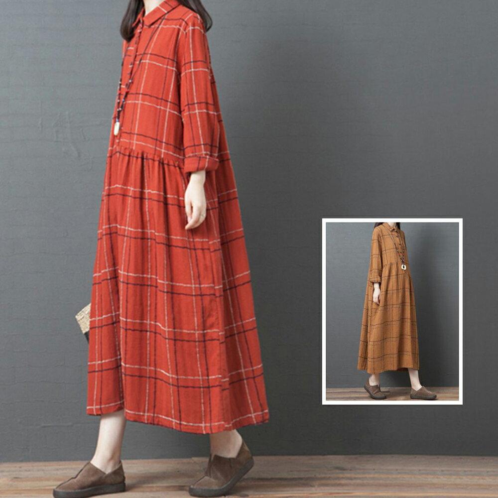 韓版寬鬆格子條紋翻領連身裙(2色M~2XL)*ORead*