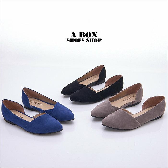 【KD3366】MIT台灣製 時尚簡單質感素面絨布 側面性感簍空 平底尖頭包鞋 娃娃鞋 3色 1