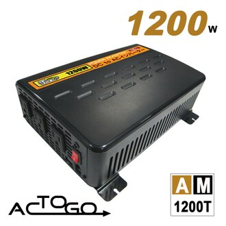 AC-TO-GO ★AM1200T 12V1200W汽車電源轉換器[ DC12V→AC110V ] [ USB2.1A急速充電 ] [ 額定輸出1000W ] [ 最大輸出1200W ] [ 瞬間輸出..