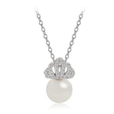 ~925純銀項鍊 鍍白金鑲鑽吊墜~精緻古典珍珠 情人節生日 女飾品73ct47~ ~~米蘭