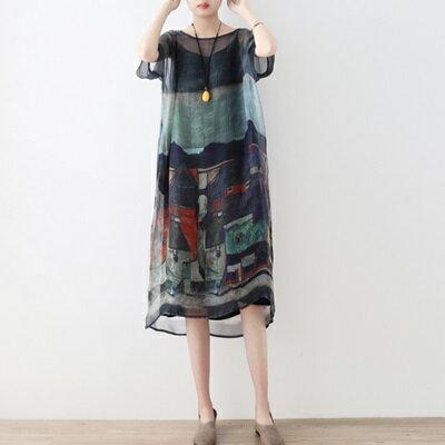 連身長裙寬版連衣裙-輕薄兩件套桑蠶絲繪畫女上衣73sm52【獨家進口】【米蘭精品】 2