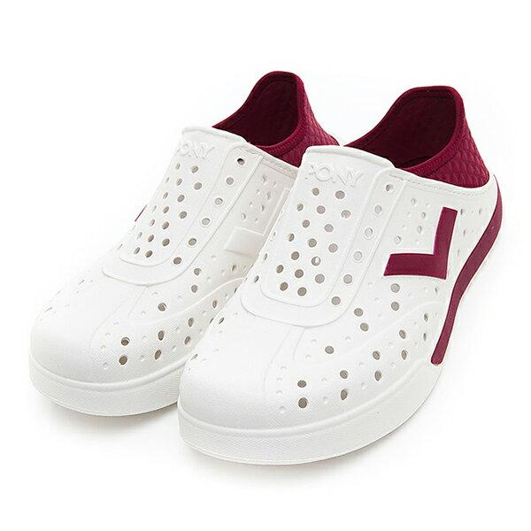 《2019新款》Shoestw【92U1SA02RD】PONY Enjoy 洞洞鞋 水鞋 海灘鞋 可踩跟 懶人拖 菱格紋 白酒紅 男女尺寸都有 0
