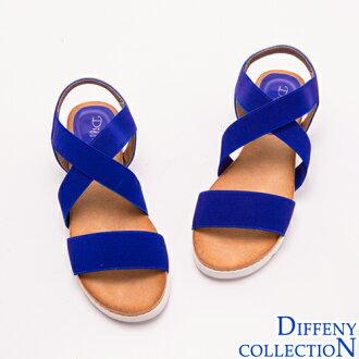 Diffeny 輕量樂活-寬版交叉踝帶撞色平底涼鞋-藍