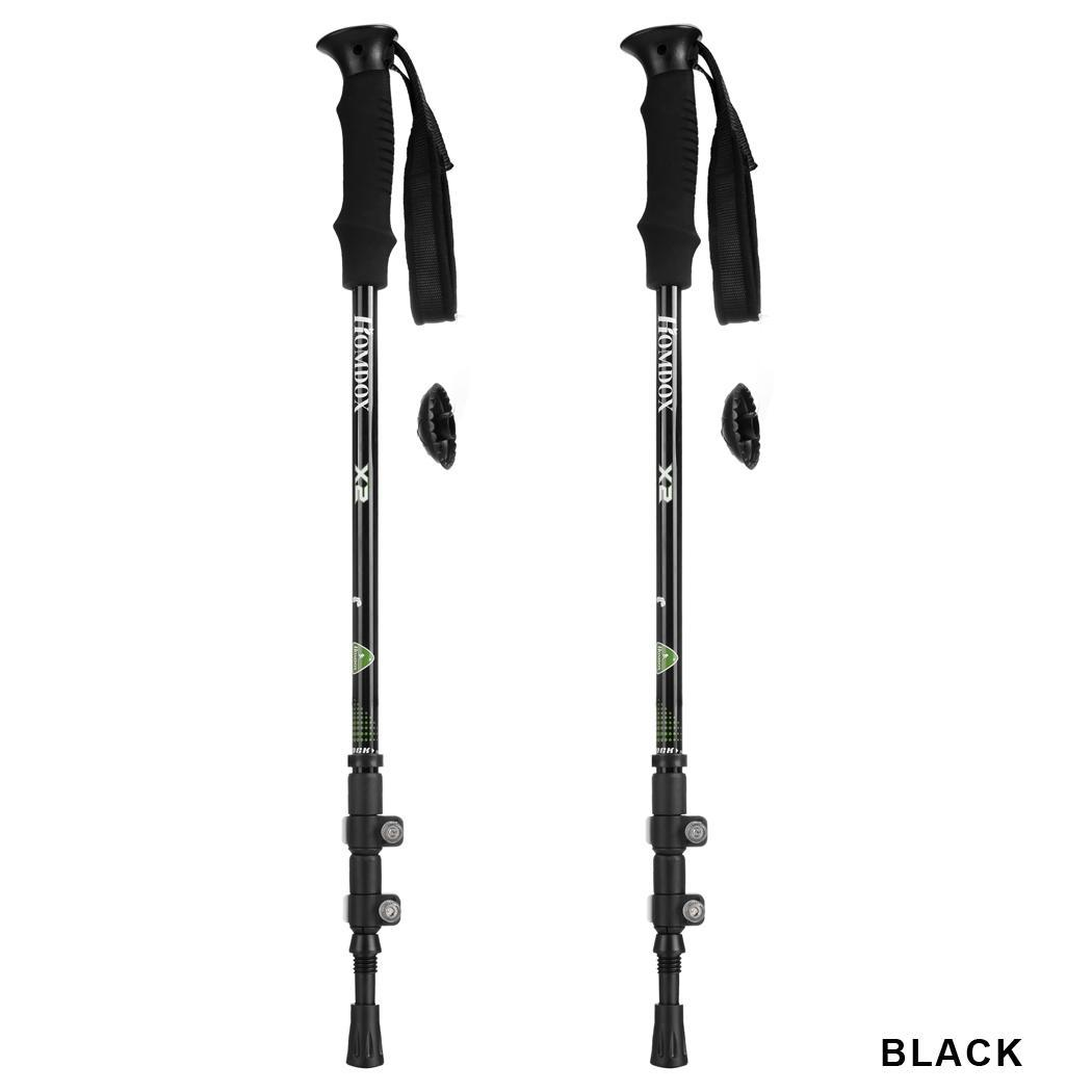 2Pcs Aluminum Alloy 3 Part Extension Adjustable Trekking Hiking Mountain Sticks Pole 0