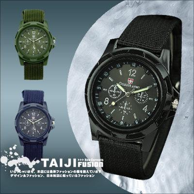 TAIJI【ATJBS170】街頭風格‧帆布錶帶質感軍款腕錶‧一色‧皮革/字母/編織/雷朋 男生聖誕交換禮物