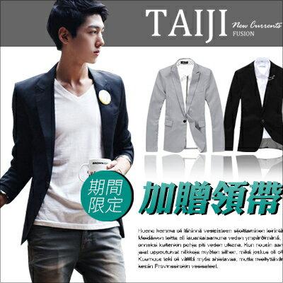 TAIJI:↘499西裝外套【ATJBX910】日韓風格‧簡約韓版修身單釦款西裝外套‧二色‧復古m65素面騎士★