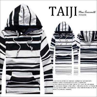 潮流帽T【NQ50058】美式風格.黑白條紋棉質抽繩連帽抽繩長T.二色‧設計條紋棉質★
